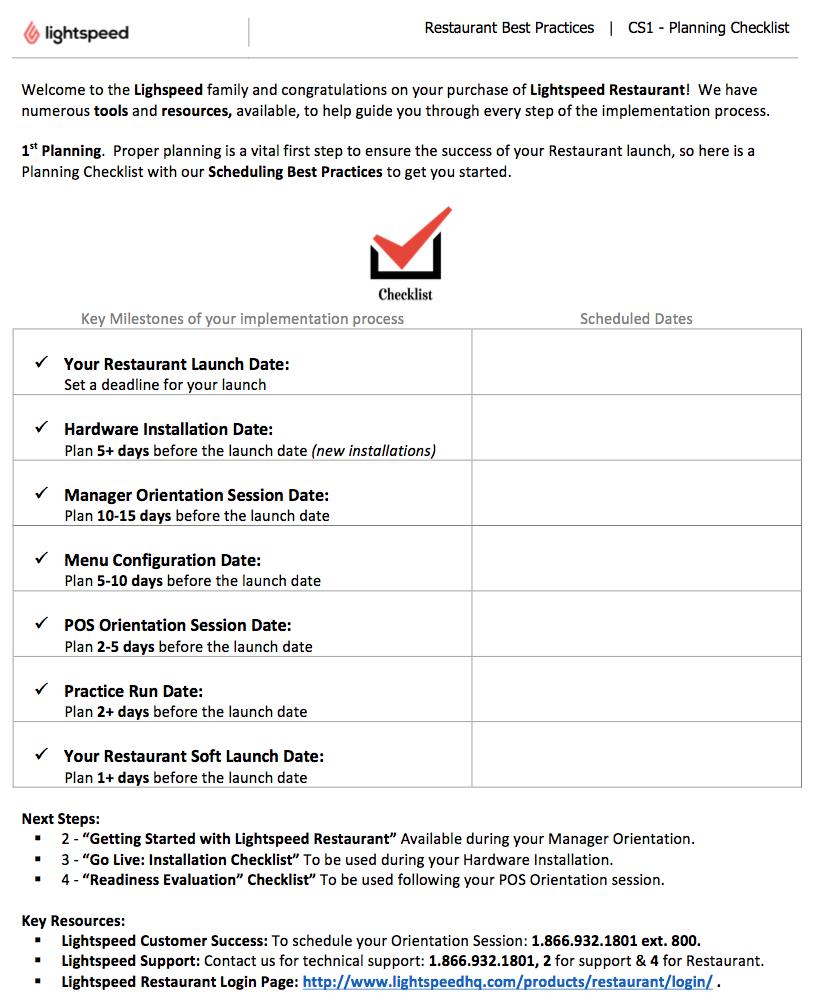 step 1 planning checklist lightspeed restaurant